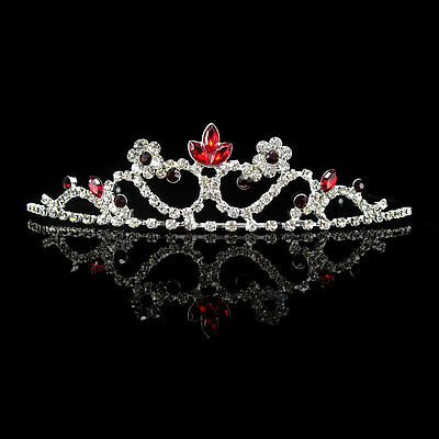 Kids Red Flower Girl Children Wedding Prom Tiara Crown Headband - Kid Size