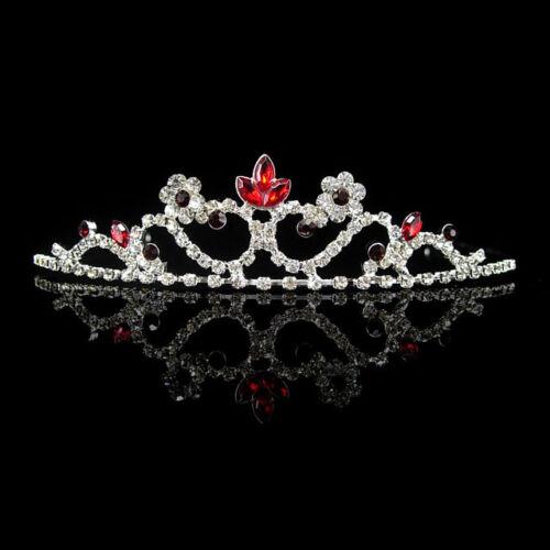 Kid Size Kids Red Flower Girl Children Wedding Prom Tiara Crown Headband