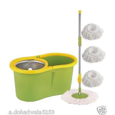 Easy mop 360 Degree Spin Magic with steel bucket, steel pole3 refils,BEST QUALI
