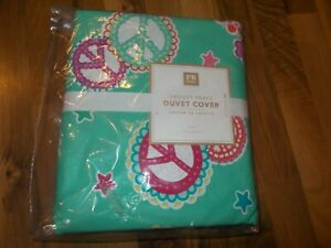 Pottery Barn Teen Groovy Peace Signs Twin Duvet Cover Nwt