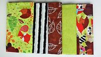 5pcs BUNDLE green brown children COTTON FABRIC Joblot Craft Quiltig hedgehog NEW