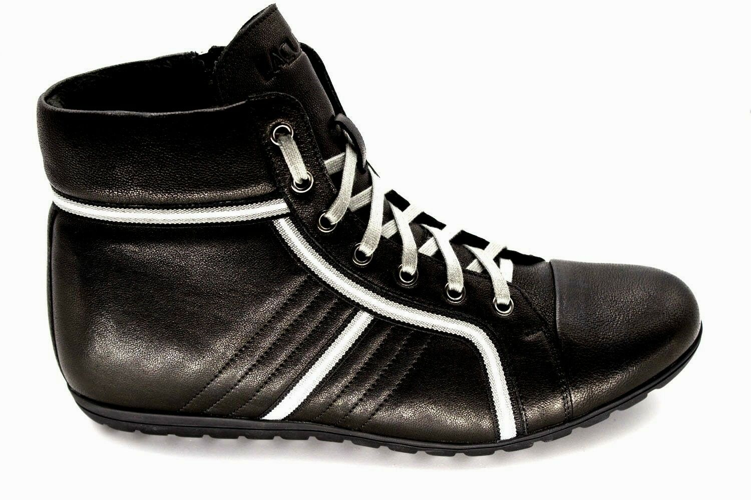 *33 UK 6 NEW BLACK REAL LEATHER HIGH TOP SNEAKERS BOXING SHOES TRAINERS EU 40