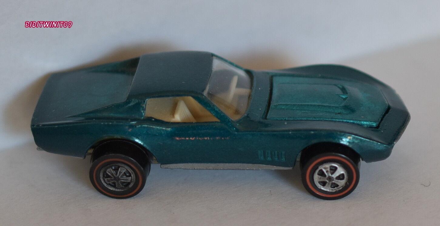 Hot Wheels Vintage rougeline 1968 Personnalisé Corvette Bleu Foncé USA Loose W +