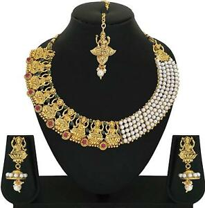 Temple Jewelry Indian Traditional Bridal Gold Tone Choker Necklace