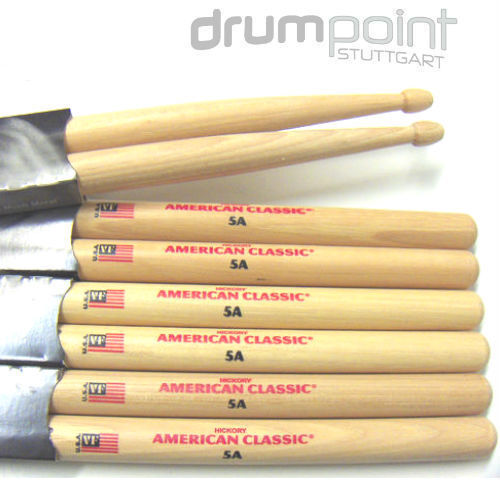 12 Paar  Vic Firth 5A American Classic Schlagzeugstöcke Drumsticks Sticks *Neu*