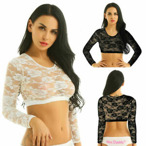 Womens-Lace-Crop-Top-Sexy-Vest-Fashion-Beach-T-Shirt-See-Through-Sheer-Tank-Tops