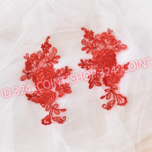 25*13cm 2PC Embroidered Peony Lace Trim wedding Appliques Dress Decor H200