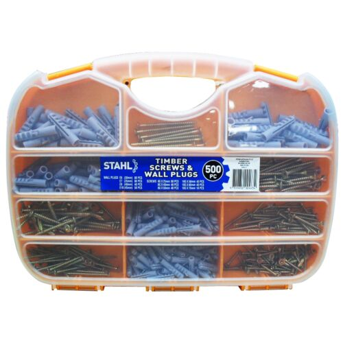 Stahl TIMBER SCREWS AND WALL PLUGS 500 Pieces Divided Trays Odd Home Jobs