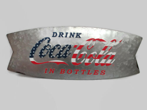 Coca-Cola Patriotic Curved Fishtail Rustic Tin Sign BRAND NEW