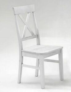 Details zu Massivholz Küchenstuhl weiß Kiefer massiv Holz stuhl  Esszimmer-stühle Landhaus