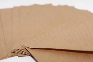 50-Briefumschlaege-Kraftpapier-Natur-gerippt-Creme-Weiss-C6-C7-DL-Eckig-nach-WAHL