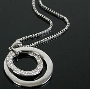 Elegant-Womens-Long-Chain-Sweater-Crystal-Pendant-Necklace-Silver-Jewelry-Gift