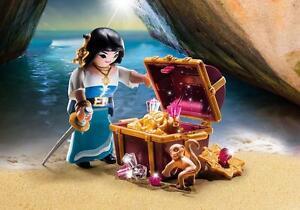 PLAYMOBIL SPECIAL PLUS nº 9087 # une Pirate avec coffre à trésor # PIRATE & BUTIN ~~ NEUF  </span>