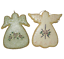 2-Angel-Ornaments-Yellow-Green-Christmas-Cookie-Cut-Out-style-Glittery-Floral thumbnail 10