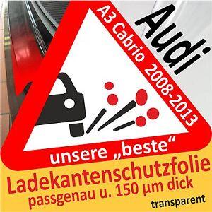 LADEKANTENSCHUTZ Lackschutzfolie für AUDI A3 8P 8PA bis 2012 schwarz matt