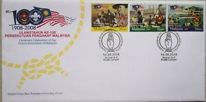Malaysia FDC with Stamps (14.08.2008) - 100 Years of Malaysia Scouts Assn