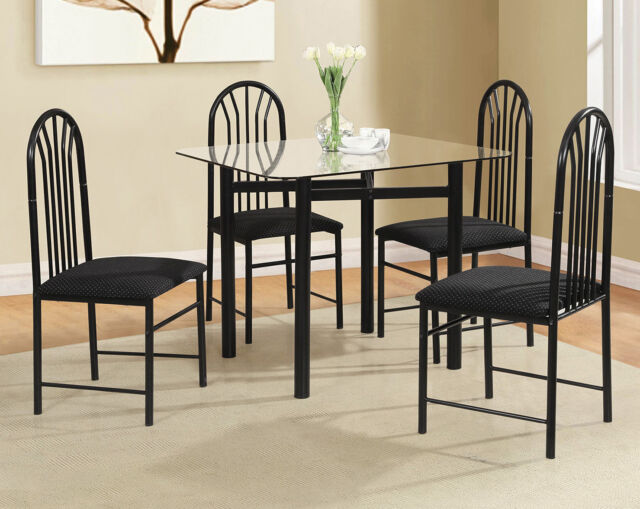 Dinette Set 5 Piece Square Gl Dining Table Four Chairs Small Kitchen Black