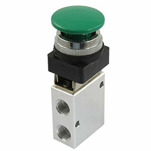 2 Position 3 Way Green Push Button Air Mechanical Valve Industrial Valve Manual