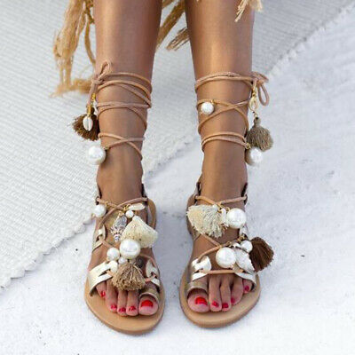 Pretty Women tassel Gladiator Sandals Lace Up Flat Heel Shoes Ankle Strap Summer | eBay