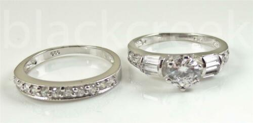 925 Sterling Silver ~ 2.0tcw White C.Z Engagement Ring Set~ size 6