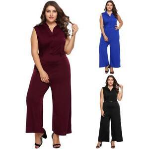 8e0513e33845 Women Plus Size Sexy Plunge V Neck Wide Leg Jumpsuits EH7E | eBay