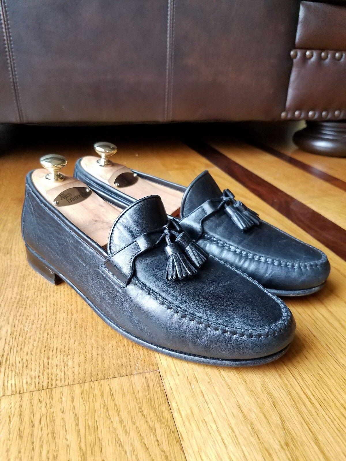 Allen Edmonds  URBINO  homme en cuir noir Handcrafted Mocassin Chaussure Sz 9.5 Italie