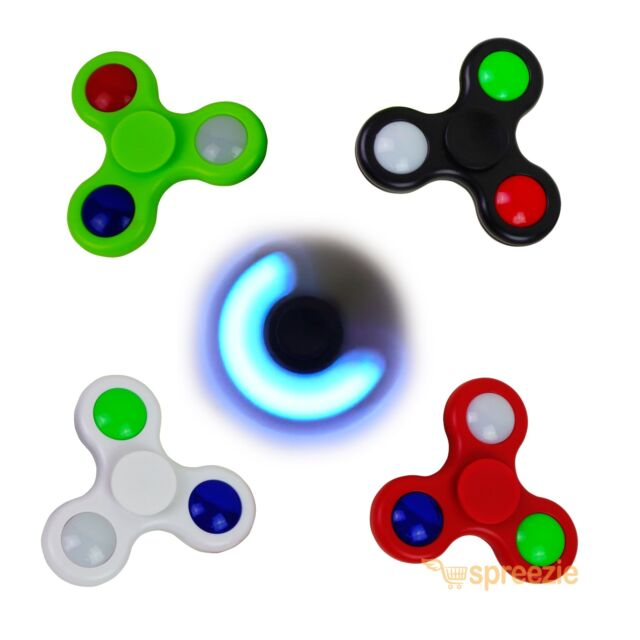 Red Velosso LED Feature Fidget Hand Spinner Toy,Stress Reducer with 3 Light Settings Perfect Toy ADHD//Anxiety//Autism And Stress Relief Adult Children