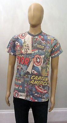 PRIMARK Official Mens MARVEL AVENGERS Superhero COMIC BOOK COLLAGE T Shirt