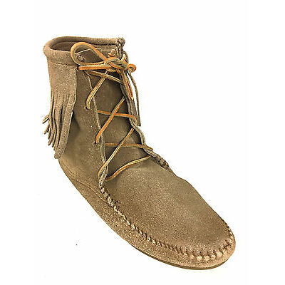 Minnetonka Single Tier Taupe Fringed Tamper Boots Womens Size US.10