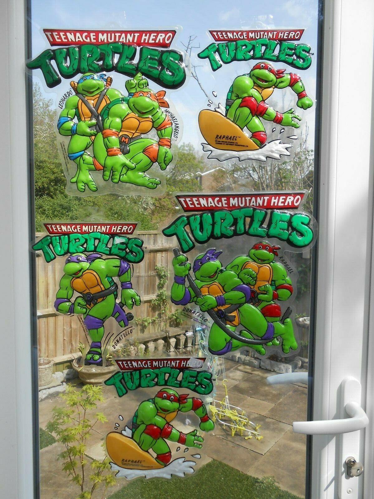 TMNT Teenage Mutant Ninja Turtles 1990 3D WINDOW,wall HANGINGS vintage RARE TMHT