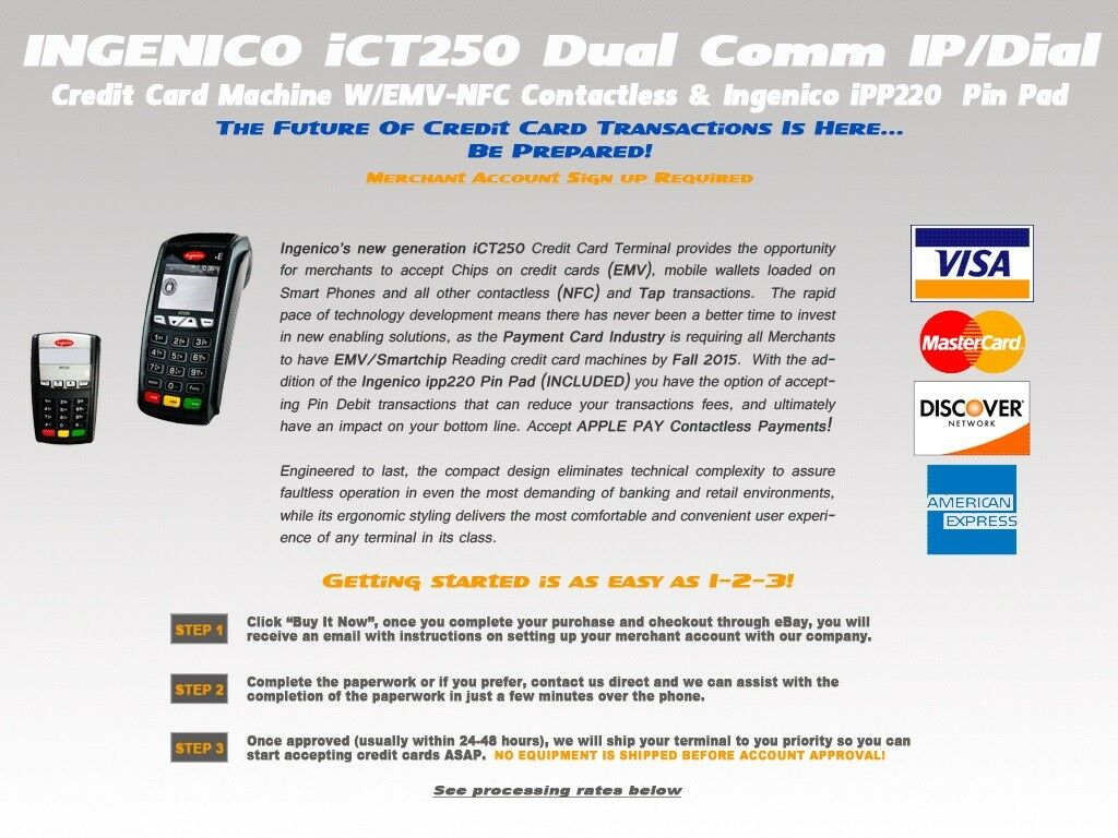 Ingenico Ict250 EMV POS Credit Card Terminal With Ipp320 Pinpad & Power  Supply