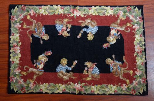 2/' X 3/' Vintage Needlepoint Rug Monkey Flower #13