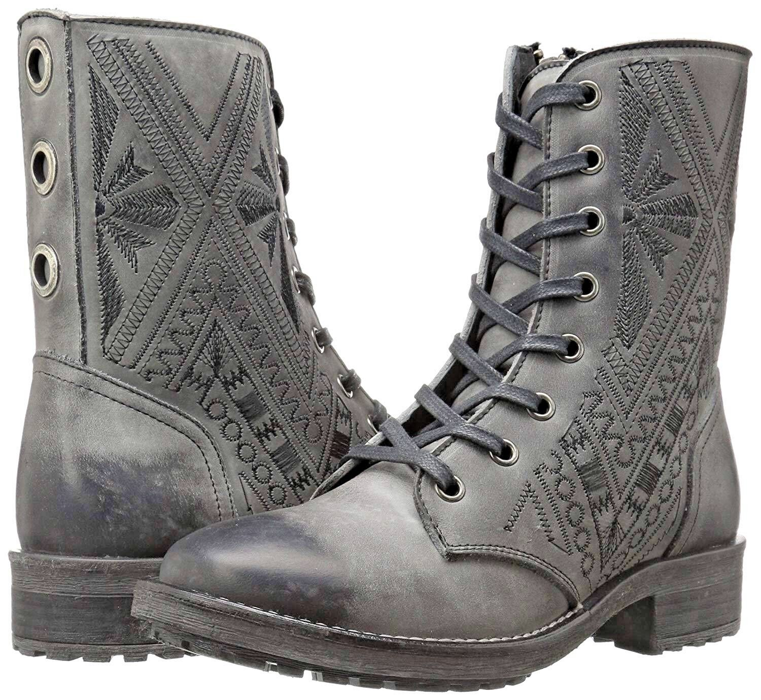 Coolway CORS donna's Dimensione 6M grigio Embroiderosso Leather Grommet Combat stivali New