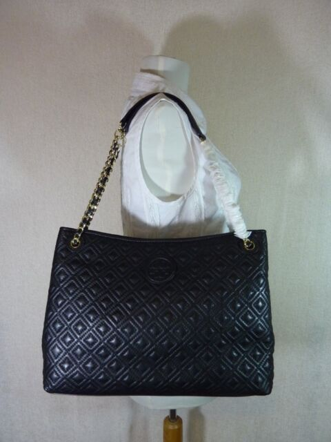 550 Tory Burch Marion Tote Purse Handbag Quilted Chain Hand Bag Logo