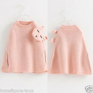 Details about Princess Babies Girls Knitting Capes Poncho Sweaters Rabbit  Stylish Batwing tops