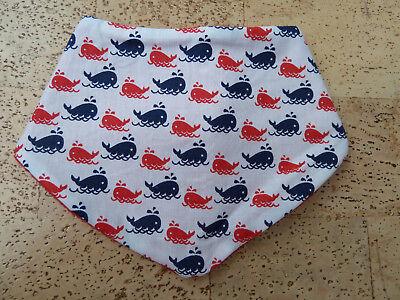 Baby Fleece Lätzchen Dreieckstuch Sabber Neu Wal Wale Rot Blau Handmade