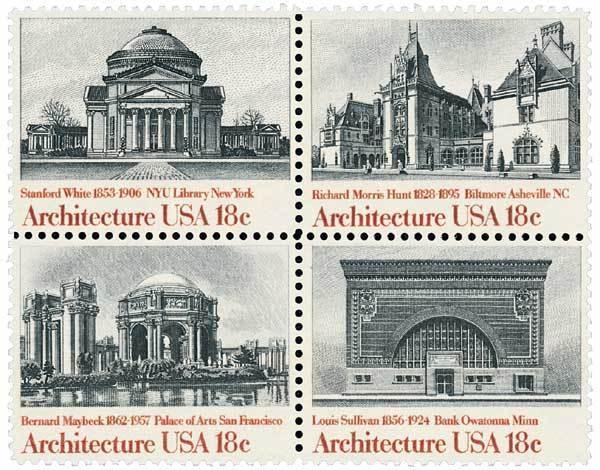 1981 18c Architecture, Block of 4 Scott 1928-31 Mint F/