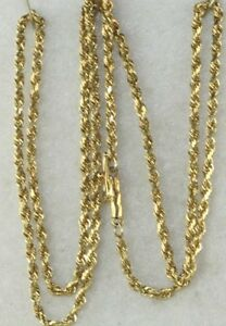Image Is Loading Used 14k Gold 20 Inch Rope Chain Necklace