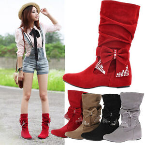 WOMENS-FAUX-SUEDE-BOHO-BOW-MID-CALF-FLAT-BOOTS-LADIES-WINTER-WEDGE-SHOES-SIZE