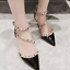 Womens-Rivets-Pointed-Toe-Stilettos-Sandals-Mid-Heels-Studded-Ankle-Strappy-D251 thumbnail 14