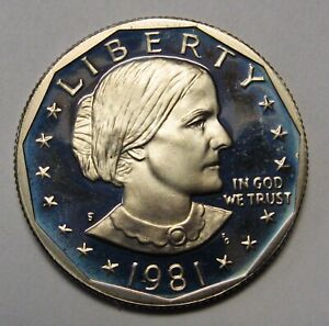 1981 S Susan B Anthony Dollar Type 1 Gem Deep Cameo Proof Roll 20 US Coins
