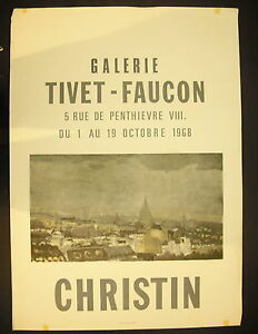 Affiche-exposition-Pierre-CHRISTIN-Galerie-Tivet-Faucon-1er-octobre-1968