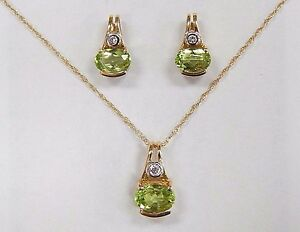Nwot peridot diamond 14k yellow gold pendant necklace earring unique image is loading nwot peridot diamond 14k yellow gold pendant necklace aloadofball Image collections