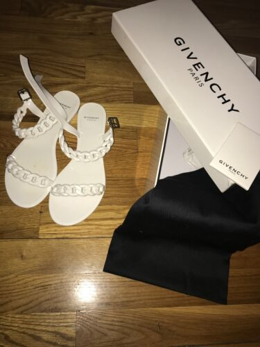 womens givenchy white chain sandal