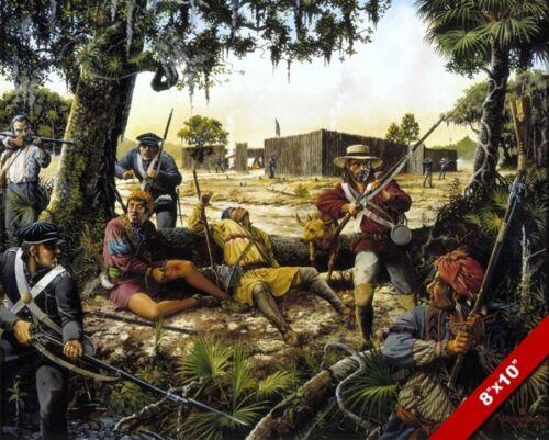 MACON VOLUNTEERS SEMINOLE INDIAN WAR PAINTING US HISTORY ART REAL CANVAS PRINT