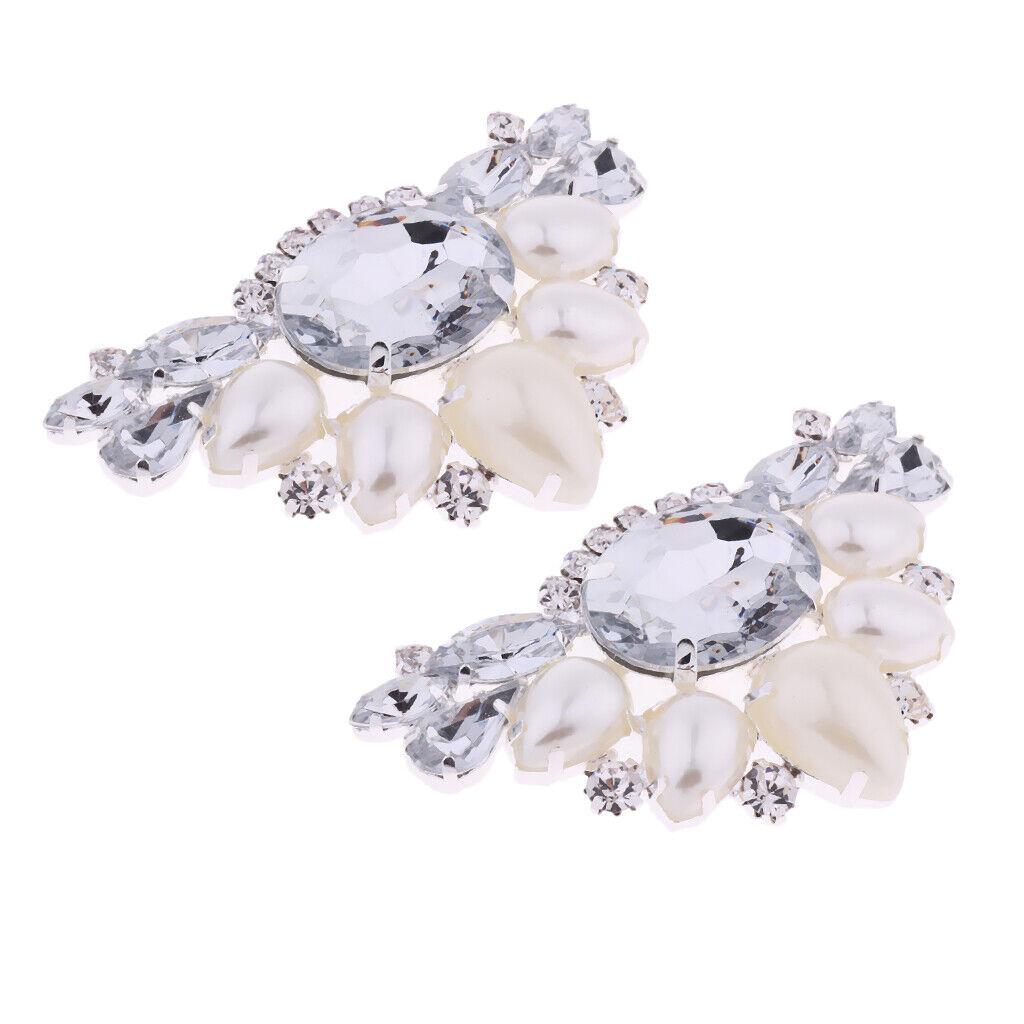 2Pcs Faux Pearl Women's DIY Shoe Charms Clips Buckles Embellishments Brooch