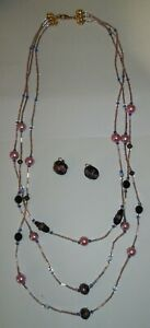Vintage-Layered-Pink-Splash-Glass-Bead-Necklace-amp-Clip-on-Earrings-Set