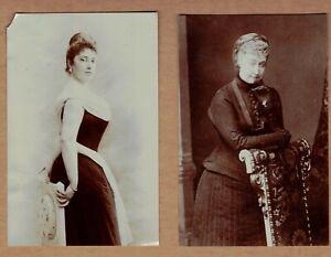2 Very Old Press Photos of Dowager Duchess of Aosta  Eugenie Latitia Bonaparte