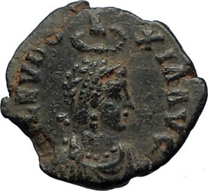 EUDOXIA-Arcadius-Wife-401AD-Authentic-Ancient-Roman-Coin-VICTORY-CHI-RHO-i69266