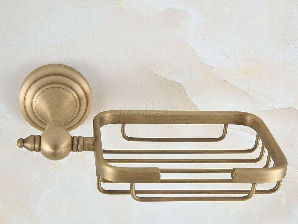 Antique Soap Dish Holder Wall Mounted Bathroom Accessory Soap Basket Rack Brass